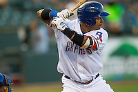 Round Rock Express designated hitter Manny Ramirez (99) at bat against the Iowa Cubs in the Pacific Coast League baseball game on July 21, 2013 at the Dell Diamond in Round Rock, Texas. Round Rock defeated Iowa 3-0. (Andrew Woolley/Four Seam Images)