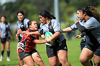 Action from the Hurricanes 1st XV girls secondary schools premier one rugby final between St Mary's College and Manukura at Hataitai Park in Wellington, New Zealand on Wednesday, 16 September 2020. Photo: Dave Lintott / lintottphoto.co.nz