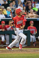 Ryan Aguilar #21 of the Arizona Wildcats bats during a College World Series Finals game between the Coastal Carolina Chanticleers and Arizona Wildcats at TD Ameritrade Park on June 28, 2016 in Omaha, Nebraska. (Brace Hemmelgarn/Four Seam Images)