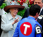 29 August 2009: Mary Lou Whitney congratlutes jockey Kent Desormeaux after he guided Summer Bird to victory in the Travers Stakes at Saratoga Race Track in Saratoga Springs, New York