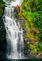 Rappelling adventure at Kulaniapia Falls, Big Island of Hawai'i.