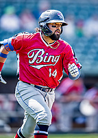 6 June 2021: Binghamton Rumble Ponies outfielder Carlos Cortes in action against the New Hampshire Fisher Cats at Northeast Delta Dental Stadium in Manchester, NH. The Rumble Ponies defeated the Fisher Cats 9-6 to close out their 6-game series. Mandatory Credit: Ed Wolfstein Photo *** RAW (NEF) Image File Available ***