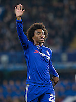 Winning goal scorer Goal scorer Willian of Chelsea during the UEFA Champions League Group G match between Chelsea and Dynamo Kyiv at Stamford Bridge, London, England on 4 November 2015. Photo by Andy Rowland.