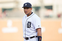 Detroit Tigers first baseman Miguel Cabrera (24) during the game against the Chicago White Sox at Comerica Park on June 2, 2017 in Detroit, Michigan.  The Tigers defeated the White Sox 15-5.  (Brian Westerholt/Four Seam Images)