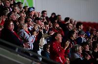 Lincoln City fans celebrate their teams goal, scored byJohn Akinde<br /> <br /> Photographer Chris Vaughan/CameraSport<br /> <br /> EFL Leasing.com Trophy - Northern Section - Group H - Doncaster Rovers v Lincoln City - Tuesday 3rd September 2019 - Keepmoat Stadium - Doncaster<br />  <br /> World Copyright © 2018 CameraSport. All rights reserved. 43 Linden Ave. Countesthorpe. Leicester. England. LE8 5PG - Tel: +44 (0) 116 277 4147 - admin@camerasport.com - www.camerasport.com