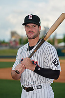 Birmingham Barons Luis Gonzalez (8) poses for a photo before a Southern League game against the Chattanooga Lookouts on May 1, 2019 at Regions Field in Birmingham, Alabama.  Chattanooga defeated Birmingham 5-0.  (Mike Janes/Four Seam Images)