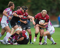 20120823 Copyright onEdition 2012©.Free for editorial use image, please credit: onEdition..Petrus du Plessis of Saracens drives forward at The Honourable Artillery Company, London in the pre-season friendly between Saracens and Stade Francais Paris...For press contacts contact: Sam Feasey at brandRapport on M: +44 (0)7717 757114 E: SFeasey@brand-rapport.com..If you require a higher resolution image or you have any other onEdition photographic enquiries, please contact onEdition on 0845 900 2 900 or email info@onEdition.com.This image is copyright the onEdition 2012©..This image has been supplied by onEdition and must be credited onEdition. The author is asserting his full Moral rights in relation to the publication of this image. Rights for onward transmission of any image or file is not granted or implied. Changing or deleting Copyright information is illegal as specified in the Copyright, Design and Patents Act 1988. If you are in any way unsure of your right to publish this image please contact onEdition on 0845 900 2 900 or email info@onEdition.com