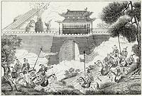 The Shang emperor Wu-Wang uses gunpowder to frighten the enemy / La Chine / circa 1130 BC
