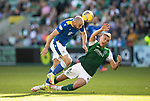 Hibs v St Johnstone…22.09.21  Easter Road.    SPFL<br />Chris Kane battles with Ryan Porteous<br />Picture by Graeme Hart.<br />Copyright Perthshire Picture Agency<br />Tel: 01738 623350  Mobile: 07990 594431