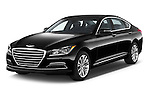 2015 Hyundai Genesis 3.8 4 Door Sedan Angular Front stock photos of front three quarter view