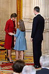Princess Leonor of Spain, King Felipe VI of Spain and Queen Letizia of Spain attend the Order of Golden Fleece (Toison de Oro), ceremony at the Royal Palace. January 30,2018. (ALTERPHOTOS/Pool)