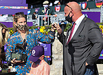 November 7, 2020: Connections for Gamine, winner of the Filly & Mare Sprint on Breeders' Cup World Championship Saturday at Keeneland Race Course on November 7, 2020: in Lexington, Kentucky. Bill Denver/Breeders' Cup/Eclipse Sportswire/CSM