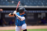Tampa Tarpons Andres Chaparro (24) bats during a game against the Fort Myers Mighty Mussels on May 23, 2021 at George M. Steinbrenner Field in Tampa, Florida.  (Mike Janes/Four Seam Images)