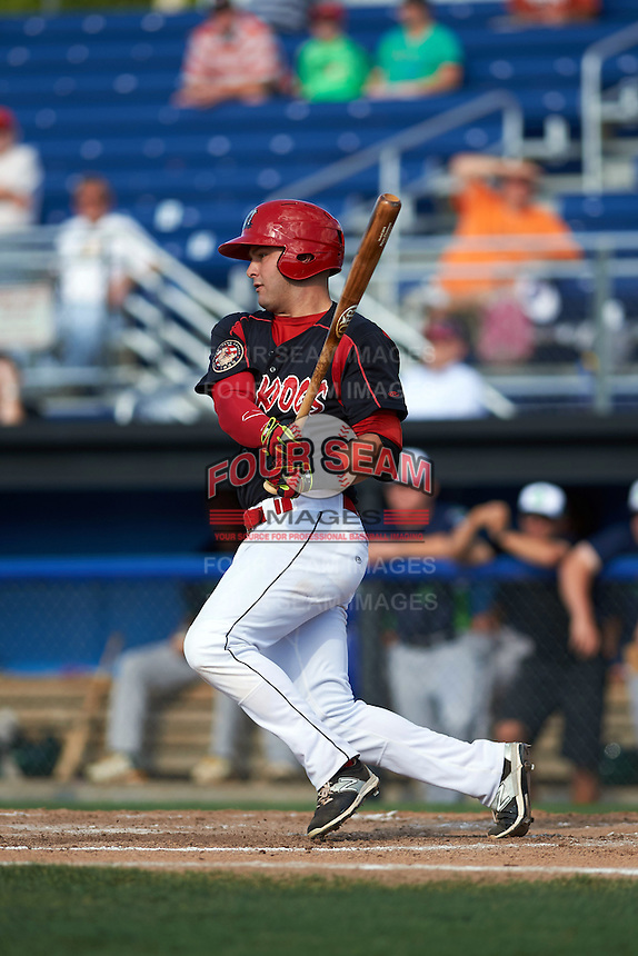 Batavia Muckdogs first baseman Ryan Cranmer (12) at bat during a game against the Vermont Lake Monsters August 9, 2015 at Dwyer Stadium in Batavia, New York.  Vermont defeated Batavia 11-5.  (Mike Janes/Four Seam Images)