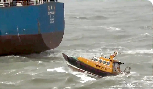 The Port Pilot boat off the stern of the Cosco bulk carrier as it departs Cork Harbour Screenshot: Safehaven Marine
