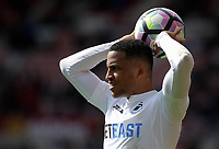 Matrin Olsson of Swansea City takes a throw in during the Premier League match between Sunderland and Swansea City at the Stadium of Light, Sunderland, England, UK. Saturday 13 May 2017