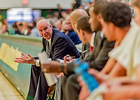 16 December 2018: Northeastern University Huskies Head Coach Bill Coen works on the bench during a game against the University of Vermont Catamounts in Men's Basketball at Patrick Gymnasium in Burlington, Vermont. The Catamounts defeated the Huskies 75-70 in NCAA Division I America East play. Mandatory Credit: Ed Wolfstein Photo *** RAW (NEF) Image File Available ***