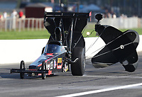 Aug 8, 2020; Clermont, Indiana, USA; NHRA top alcohol dragster driver Julie Nataas during the Indy Nationals at Lucas Oil Raceway. Mandatory Credit: Mark J. Rebilas-USA TODAY Sports