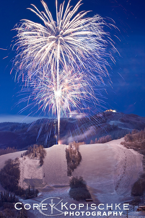 New years eve fireworks at Steamboat ski area.