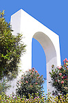 Trees and flowers adorn the archway entrance to the city of San Felipe