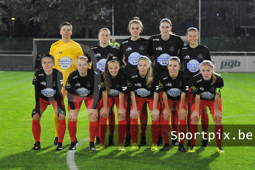 Woluwe's goalkeeper Hazel Engelen (18) , Woluwe's Estelle Peron (45) , Woluwe's midfielder Sheila Broos (20) , Woluwe's midfielder Marie Bougard (10) , Woluwe's forward Kenza Vrithof (9) and Woluwe's forward Stephanie Suenens (17) , Woluwe's defender Stefanie Deville (3) , Woluwe's defender Anouck Cochez (4) , Woluwe's defender Magali Dinon (6) , Woluwe's midfielder Selina Gijsbrechts (11) , Woluwe's midfielder Jana Simons (8) pictured during a female soccer game between  AA Gent Ladies and Femina White Star Woluwe on the third matchday of the 2020 - 2021 season of Belgian Scooore Womens Super League , friday 2 nd of October 2020  in Oostakker , Belgium . PHOTO SPORTPIX.BE | SPP | STIJN AUDOOREN