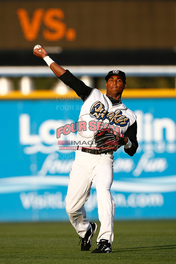 Hainley Statia of the Ranch Cucamonga Quakes during a California League baseball game on May 26, 2007 at The Epicenter in Rancho Cucamonga, California. (Larry Goren/Four Seam Images)