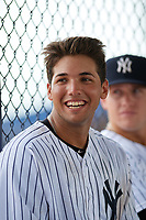 GCL Yankees East right fielder Raymundo Moreno (13) in the dugout during the second game of a doubleheader against the GCL Blue Jays on July 24, 2017 at the Yankees Minor League Complex in Tampa, Florida.  GCL Yankees East defeated the GCL Blue Jays 7-3.  (Mike Janes/Four Seam Images)