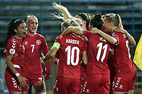 Nadia Nadim of Denmark celebrates with team mates after scoring the goal of 0-3 during the Women s EURO 2022 qualifying football match between Italy and Denmark at stadio Carlo Castellani in Empoli (Italy), October, 27th, 2020. Photo Andrea Staccioli / Insidefoto