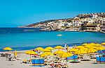 Malta, bei Mellieha, Mellieha Bay: beliebter Strand | Malta, near Mellieha, Mellieha Bay: famous beach