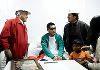 President of Chile Sebastian Piñera and Bolivia, Evo Morales, visit at the hospital rescued miner Carlos Mamani. Rescue in San Jose mine, north of Chile