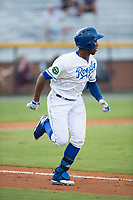 Seuly Matias (25) of the Burlington Royals hustles down the first base line against the Danville Braves at Burlington Athletic Stadium on August 15, 2017 in Burlington, North Carolina.  The Royals defeated the Braves 6-2.  (Brian Westerholt/Four Seam Images)