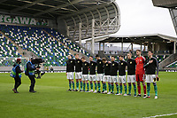 BELFAST, NORTHERN IRELAND - MARCH 28: Northern Ireland starting XI before a game between Northern Ireland and USMNT at Windsor Park on March 28, 2021 in Belfast, Northern Ireland.