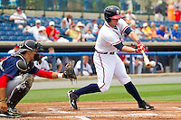 Matt Lipka #5 of the Rome Braves makes contact with the baseball against the Hagerstown Suns at State Mutual Stadium on May 1, 2011 in Rome, Georgia.   Photo by Brian Westerholt / Four Seam Images