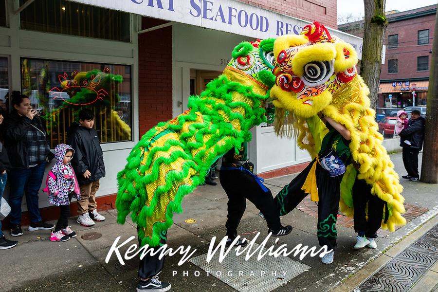 Mak Fai Kung Fu Lion Dance Team, Chinese New Year Celebration, Chinatown, Seattle, WA, USA.