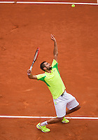 France, Paris, 30.05.2014. Tennis, French Open, Roland Garros, Marin Cilic (CRO) serving in his match against Novak Djokovic (SRB)<br /> Photo:Tennisimages/Henk Koster