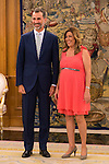 King Felipe VI of Spain and the President of the Government of Andalucia Susana Diaz during Royal Audience at Zarzuela Palace in Madrid, Spain. July 09, 2015.<br />  (ALTERPHOTOS/BorjaB.Hojas)