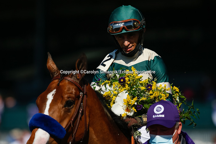 November 7, 2020 : Gamine, ridden by John Velazquez, wins the Filly & Mare Sprint on Breeders' Cup Championship Saturday at Keeneland Race Course in Lexington, Kentucky on November 7, 2020. Carolyn Simancik/Breeders' Cup/Eclipse Sportswire/CSM