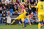 Atletico de Madrid Saul Ñiguez and UD Las Palmas Helder Lopes during La Liga match between Atletico de Madrid and UD Las Palmas at Vicente Calderon Stadium in Madrid, Spain. December 17, 2016. (ALTERPHOTOS/BorjaB.Hojas)