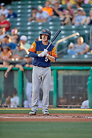 Corban Joseph (5) of the Las Vegas Aviators at bat against the Salt Lake Bees at Smith's Ballpark on July 20, 2019 in Salt Lake City, Utah. The Aviators defeated the Bees 8-5. (Stephen Smith/Four Seam Images)