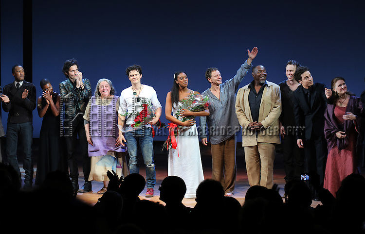 Corey Hawkins, Roslyn Ruff, Christian Camargo, Jayne Houdyshell, Orlando Bloom, Condola Rashad, Brent Carver, Chuck Cooper, Conrad Kemp,  Justin Guarini and Tracy Sallows during the Broadway Opening Night Performance Curtain Call for 'Romeo and Juliet' at the Richard Rodgers Theatre in New York City on September 19, 2013.