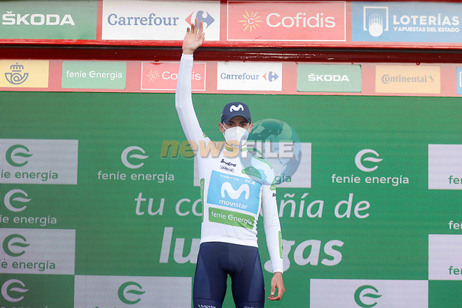 Enric Mas (ESP) Movistar Team retains the young riders White Jersey at the end of Stage 10 of the Vuelta Espana 2020 running 187.4km from Castro Urdiales to Suances, Spain. 30th October 2020.    <br /> Picture: Luis Angel Gomez/PhotoSportGomez | Cyclefile<br /> <br /> All photos usage must carry mandatory copyright credit (© Cyclefile | Luis Angel Gomez/PhotoSportGomez)