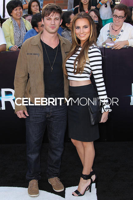 """WESTWOOD, LOS ANGELES, CA, USA - MARCH 18: Matt Lanter, Angela Stacy at the World Premiere Of Summit Entertainment's """"Divergent"""" held at the Regency Bruin Theatre on March 18, 2014 in Westwood, Los Angeles, California, United States. (Photo by Xavier Collin/Celebrity Monitor)"""