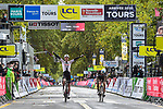 Casper Pedersen (DEN) Team Sunweb outsprints Benoit Cosnefroy (FRA) AG2R-La Mondiale to win Paris-Tours 2020, running 213km from Chartres to Tours, France. 11th October 2020.<br /> Picture: ASO/Gautier Demouveaux | Cyclefile<br /> All photos usage must carry mandatory copyright credit (© Cyclefile | ASO/Gautier Demouveaux)