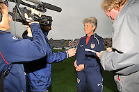USA coach Pia Sundhage discusses the game with the media. The USA defeated Norway 2-1 at Olhao Stadium on February 26, 2010 at the Algarve Cup.