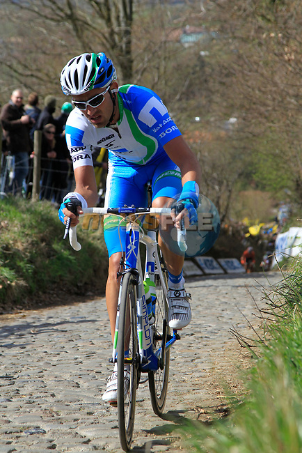 Andreas Schillinger (GER) Team Netapp climbs Koppenberg during the 96th edition of The Tour of Flanders 2012, running 256.9km from Bruges to Oudenaarde, Belgium. 1st April 2012. <br /> (Photo by Eoin Clarke/NEWSFILE).