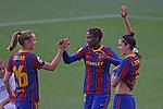 Liga IBERDROLA 2020-2021. Jornada: 18.<br /> FC Barcelona vs R. Madrid: 4-1.<br /> Caroline Graham, Asisat Oshoala & Jennifer Hermoso.