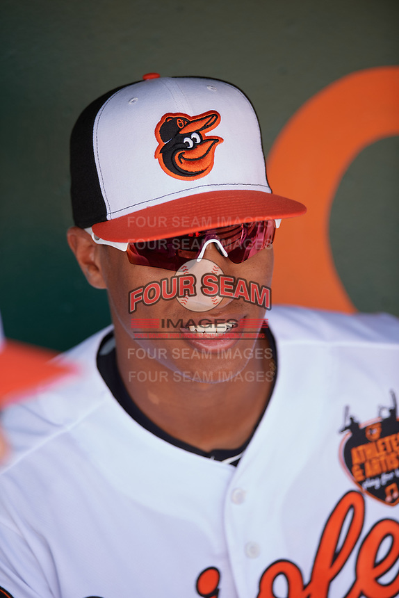 Baltimore Orioles Chris Bostick (68) in the dugout before a Grapefruit League Spring Training game against the Tampa Bay Rays on March 1, 2019 at Ed Smith Stadium in Sarasota, Florida.  Rays defeated the Orioles 10-5.  (Mike Janes/Four Seam Images)
