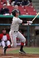 Andrew Susac #9 of the San Jose Giants bats against the High Desert Mavericks at Stater Bros. Stadium on April 9, 2012 in Adelanto,California. High Desert defeated San Jose 6-5.(Larry Goren/Four Seam Images)
