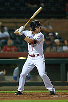 Scottsdale Scorpions third baseman Taylor Sparks (6), of the Cincinnati Reds organization, at bat during an Arizona Fall League game against the Peoria Javelinas on October 20, 2017 at Scottsdale Stadium in Scottsdale, Arizona. the Javelinas defeated the Scorpions 2-0. (Zachary Lucy/Four Seam Images)
