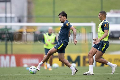 12th November 2020; Granja Comary, Teresopolis, Rio de Janeiro, Brazil; Qatar 2022 World Cup qualifiers; Lucas Paqueta and Diego Carlos of Brazil during training session